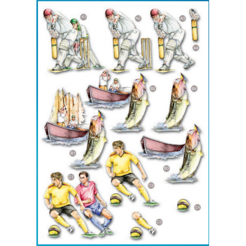 Die Cut Decoupage - Mens Cricket, Fishing and Football