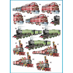 Die Cut Decoupage -Trains