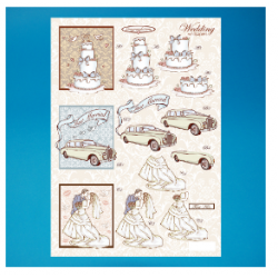 Die Cut Decoupage - Wedding Cake, Car, Bride & Groom