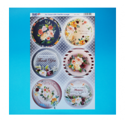 Die Cut Decoupage -  Foiled Silver Floral Toppers Round