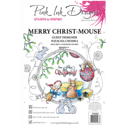Pink Ink Designs Merry Christ Mouse A5 Clear Stamp Se