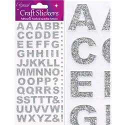 Eleganza Silver Glitter Alphabet - Craft Stickers