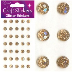 Eleganza 4mm Champagne Glitter Gems - Craft Stickers 112 pcs