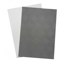 A4 Aspen White Ribbed and Silver Ionised Pearl Floral Embossed Card - Pack of 25