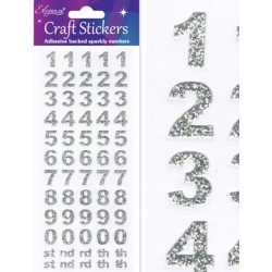 Eleganza Silver Glitter Numbers - Craft Stickers