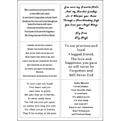 Easy Peel Self Adhesive Pet Memorial Verses 2 by Essential Crafts