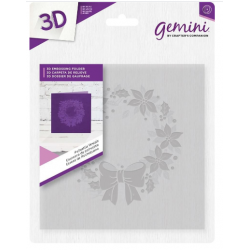 "Gemini 6"" x 6""  3D Embossing Folder - Poinsettia Wreath"