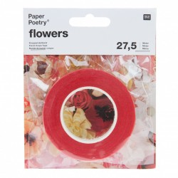 Red Floral Crepe Tape 27.5m - Rico Paper Poetry