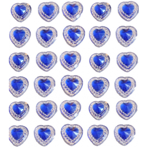 40 Royal Blue Self Adhesive Acrylic Hearts / Embossed Mini Crystals 12mm x 17 mm
