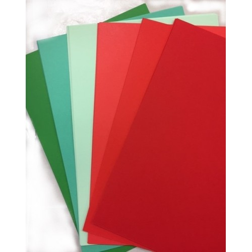 A5 Shades of Red & Green Card Pack - 24 Sheets 160gsm.
