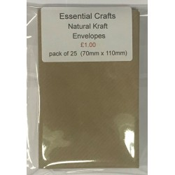 70mm x 110mm Small Natural Kraft Envelopes Pack of 25