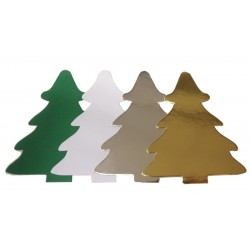 Christmas Trees Die Cut Shapes - Silver Mirror