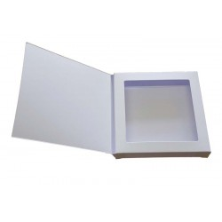 8 x 8 White Aperture Gift Card Box With Acetate and Door