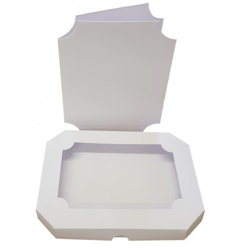 8 x 6 White Aperture Emerald Shaped Card Box With Acetate & Card Blank