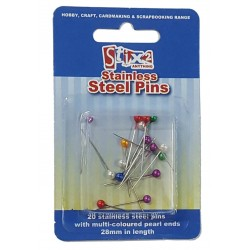 Stix 2 Stainless Steel Pins with Pearl Ends - Pack of 20