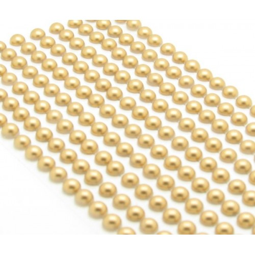 200 Gold Round Pearls 6mm Flat Backed Round Self Adhesive Beads