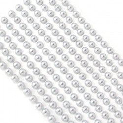 200 Silver Round Pearls 6mm Flat Backed Round Self Adhesive Beads