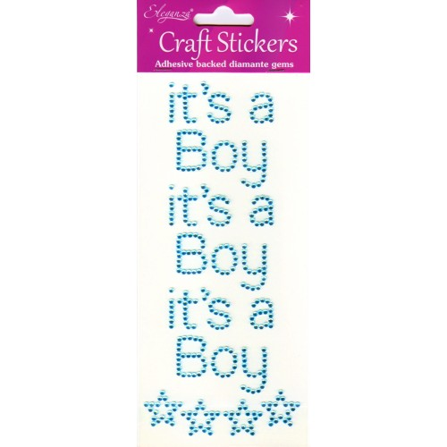 Eleganza Pearl Blue Craft Stickers It's A Boy With Stars