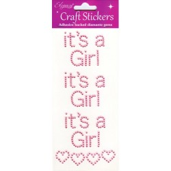 Eleganza Pearl Pink Craft Stickers With hearts t's A Girl
