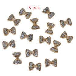 Gold Resin Bows Filled with Iridescent Glitter Sparkle Dots Flat Back Embellishments 5pcs