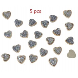 Gold Resin Hearts Filled with Iridescent Glitter Sparkle Dots Flat Back Embellishments 5pcs