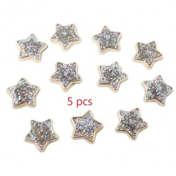 Gold Resin Stars Filled with Iridescent Glitter Sparkle Dots Flat Back Embellishments 5pcs