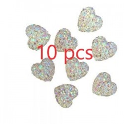10 Heart Gems 12mm AB Flat Back Quality Resin Embellishments