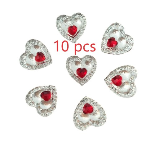 10 Heart Gems 12mm Clear With Mini Red Heart Centre Resin Embellishments