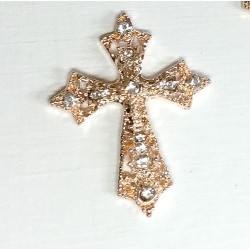 Rose Gold filigree cross diamante Embellishment