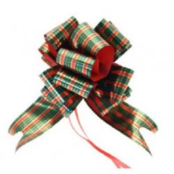 Metalic Tartan Ribbon Pullbow