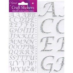 Eleganza Silver Sparkly Stylized Letters - Craft Stickers
