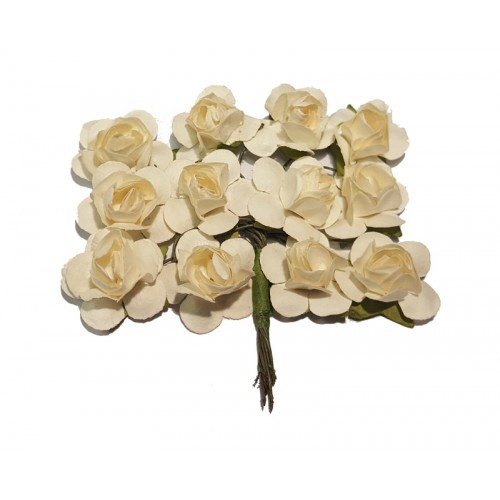 Tea Roses - White - Bunch of 12