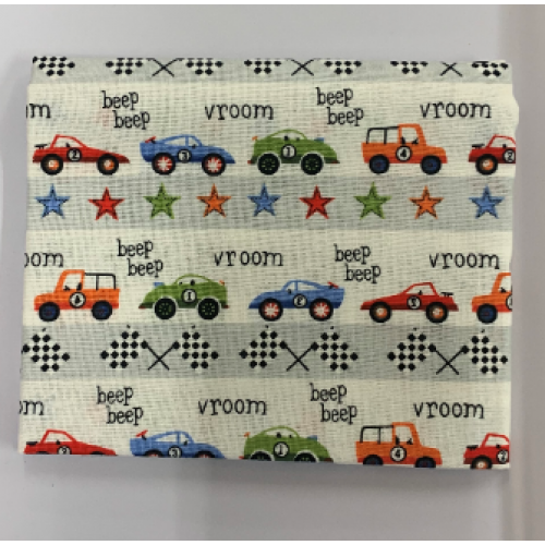 Racing Cars on white Backround Fat Quarter 100% Cotton Fabric