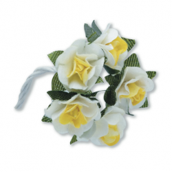 Tea Roses Mini - Yellow & White - Bunch of 12