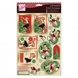 Anita's Foiled Die-Cut Decoupage - Retro Christmas