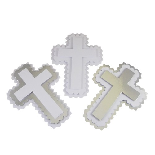 Large 3D scalloped card cross topper