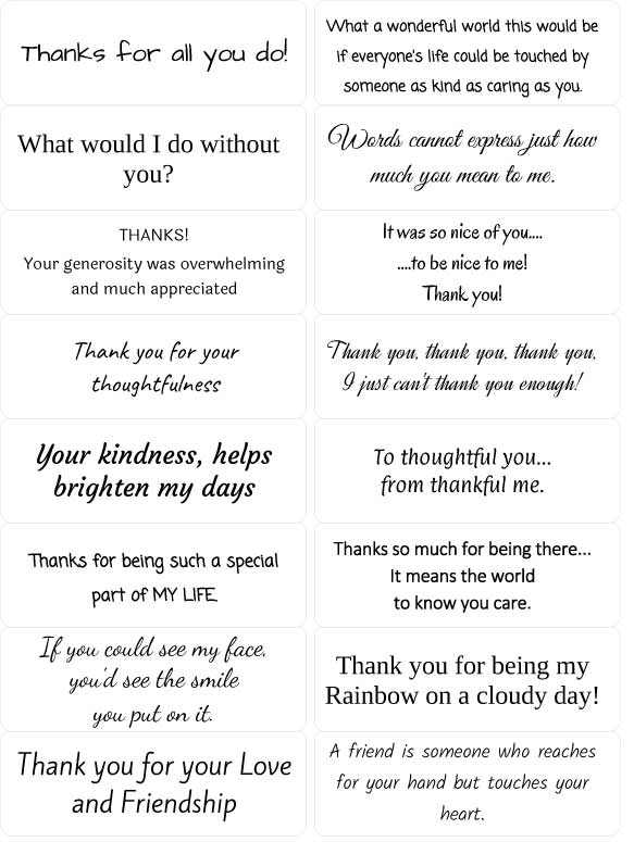 peel off thank you sentiments  sticky verses for handmade